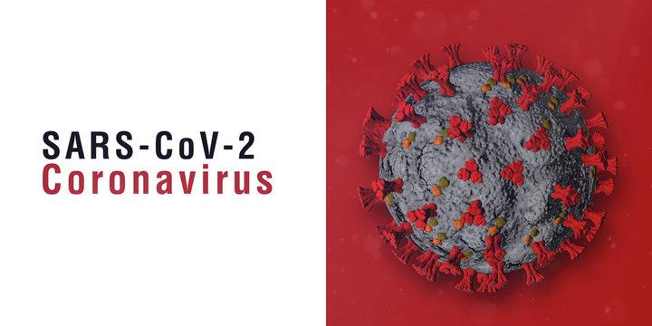 SARS-CoV-2 Banner. Virus Infection. Medical wallpaper. 3D illustration of coronavirus. White background.