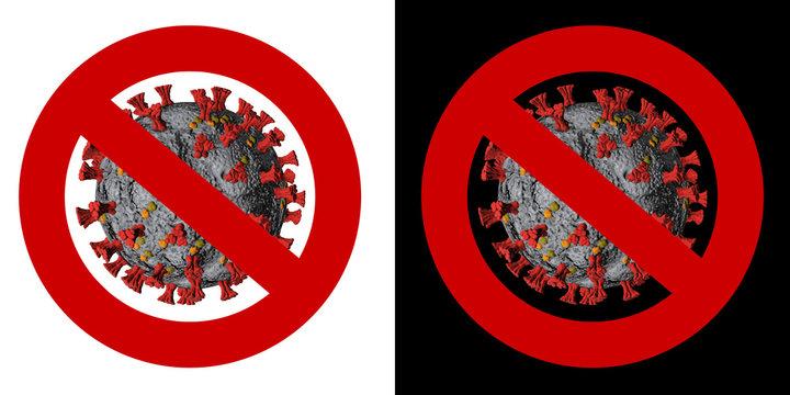 Stop Corona SARS-CoV-2 Banner. Virus Infection. Medical wallpaper. 3D illustration of coronavirus. Black and White background.