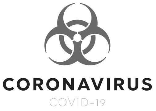 Biohazard Banner Coronavirus Covid-19 on white background. Concept of SARS-CoV-2. Virus Infection. Medical wallpaper. 3D illustration of coronavirus.