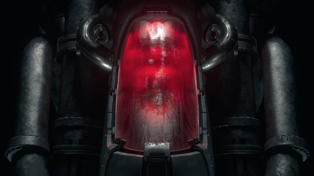 Cryogenic hibernation capsule with human body inside illuminated with red light. Science fiction cryonics technology for humans. Cryo chamber. Cryopod with misted glass in night scene. 3d illustration
