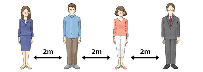 ソーシャルディスタンス(4人、直立、2m)