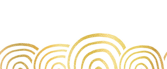 Abstract metallic golden foil seamless vector border hand drawn circle shapes. Repeating gold pattern ring rainbow shapes for bottom of page decor, cards, trim, banner, celebration, party.