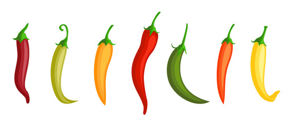Chilli pepper. Hot red, green and yellow chili peppers. Different colors of pepper. Isolated mexican spices, vector paprika icon signs. Wall mural