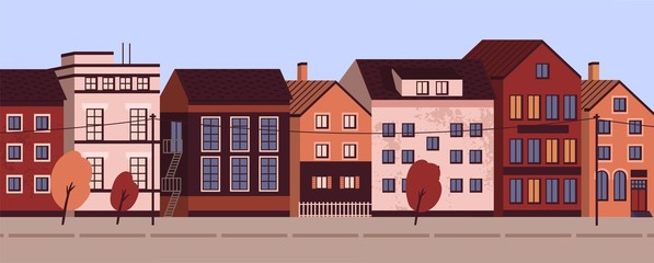 Fototapete - Colorful cityscape with modern residential buildings. Suburban area horizontal panoramic banner. Urban street landscape with living houses facades. Vector illustration in flat cartoon style