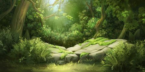 Obraz Deep Forest. Fantasy Backdrop. Concept Art. Realistic Illustration. Video Game Digital CG Artwork Background. Nature Scenery.  - fototapety do salonu