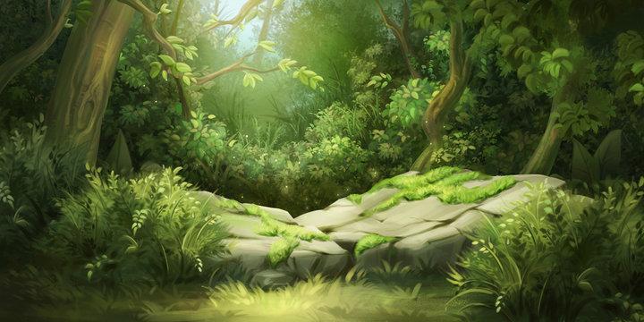 Deep Forest. Fantasy Backdrop. Concept Art. Realistic Illustration. Video Game Digital CG Artwork Background. Nature Scenery.