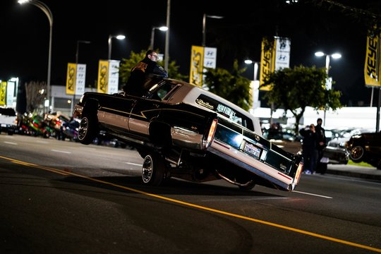 Lowrider car on two wheels