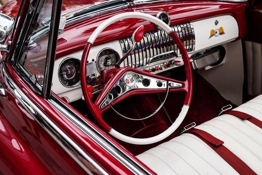 Old school car steering wheel