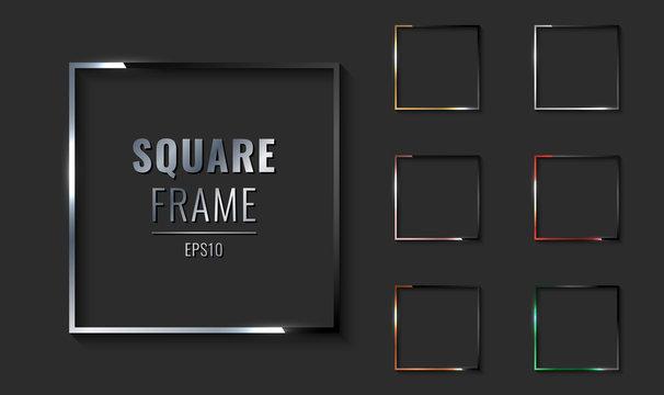 Set of square metallic border frame silver, golden, pink gold, copper, red, green on black background.