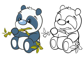 Tuinposter Babykamer Vector Illustration of a Cute Cartoon Character Panda for you Design and Computer Game. Coloring Book Outline