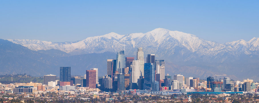 Downtown Los Angeles from Afar with Snowy San Gabriel Mountains - Panorama