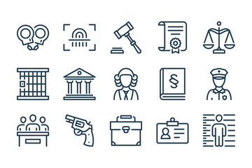 Law and Judgement line icons. Justice, Court of law and Government vector linear icon set.