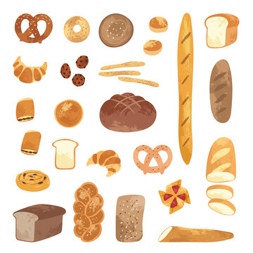 Set of different types, shapes and sizes of breads and homemade baked products: croissant, loaf, bun, baguette, toast, pretzel. Bakery goods set use for cooking books, restaurant menu, posters, labels
