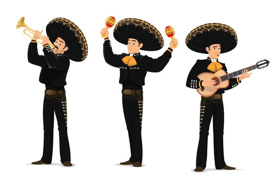 Mariachi mexican musicians band. Cartoon vector characters playing on guitar, trumpet and maracas instruments. Latino music band in Mexican sombrero and national costumes. Mariachi carnival musicians
