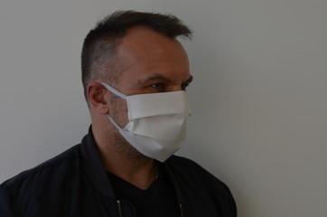 Fototapeta koronawirus , maska coronawirus ,maseczka, medyczne, doktor, grypa, lek, izolowany, portret, bezpieczeństwa, choroba, , zdrowie, buzia, lud, chronić, przeziębienie, wirus, złodziej w masce