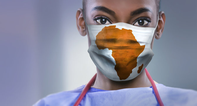 AFRICA - Coronavirus surgical mask doctor wearing face protective mask against corona virus banner panoramic medical professional preventive gear.