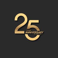 Fototapeta 25 years anniversary celebration logotype with elegant modern number gold color for celebration obraz