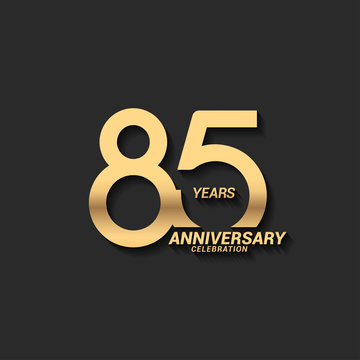 85 years anniversary celebration logotype with elegant modern number gold color for celebration