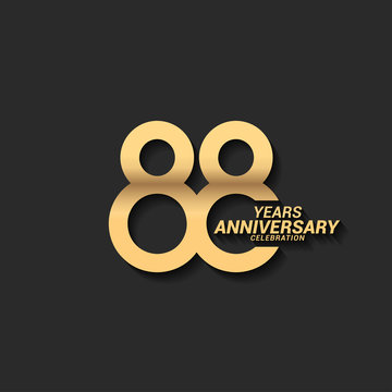 88 years anniversary celebration logotype with elegant modern number gold color for celebration