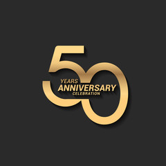 50 years anniversary celebration logotype with elegant modern number gold color for celebration