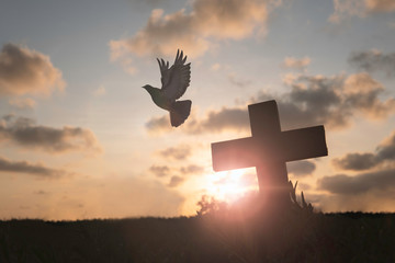 Fotorolgordijn Bar Silhouette Jesus christ death on cross crucifixion on calvary hill in sunset good friday risen in easter day concept for Christian praise for holy spirit religious God, Catholic praying background.