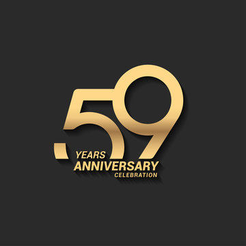 59 years anniversary celebration logotype with elegant modern number gold color for celebration