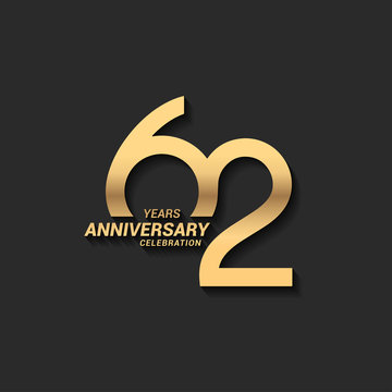 62 years anniversary celebration logotype with elegant modern number gold color for celebration