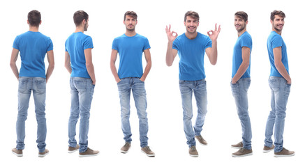 side view . modern young man in jeans.