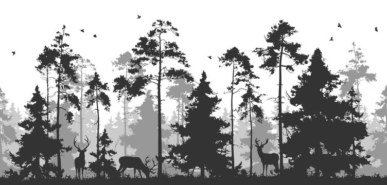 horizontal seamless vector illustration. Pine forest with animals. You can remove deer or birds - they are isolated