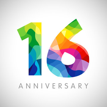 16 th anniversary numbers. 16 years old logotype. Bright congrats. Isolated abstract graphic web design template. Creative 1, 6 3D digits. Up to 16%, -16% percent off discount. Congratulation concept.