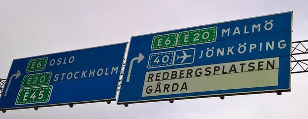 Znak drogowy, tablica informacyjna ,Szwecja  Fotoväggar