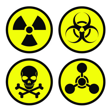 Radiation sign, biological contamination icon, chemical weapons symbol. Weapons of mass destruction icons: nuclear, biological, chemical