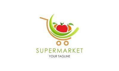 Supermarket fruit logo template design vector Wall mural