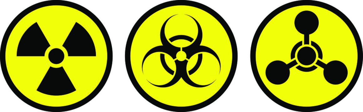 Radiation sign, biological contamination icon, chemical weapons symbol. Set of stickers of weapons of mass destruction.
