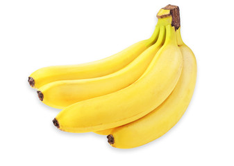 banana picture, yellow bananas, banana on white background. banana fruit close up, tropical yellow pattern, banana isolated