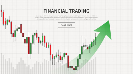 Financial trade chart with uptrend arrow vector illustration