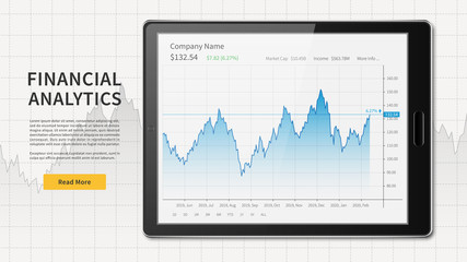 Tablet with stock trade graph web banner
