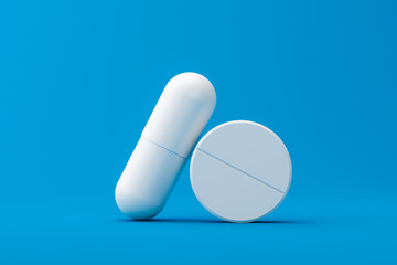 White capsule or painkillers with a pharmacy on a medical background. White pills for alleviating illness or fever. 3D rendering.