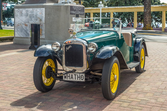 Wellington, New Zealand - November 19, 2014: Classic 1935 vintage Austin Seven car parked on Marine Parade in the art deco town of Napier Hawke's Bay New Zealand.