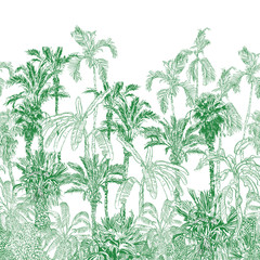 Double Level Seamless Border Vintage Etching Tropical Jungle Pattern Green, Panorama Tropics Palm Trees, Exotic Trees Wallpaper Mural, Tropical Back Drop