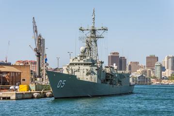 Sydney, Australia - November 9, 2014: The HMAS Melbourne (III) docked in Sydney Harbour, Sydney, Australia. It is one of the Royal Australian Navy's remaining Adelaide Class guided missile frigate.
