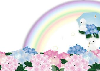紫陽花のピンクやブルーの花とテルテル坊主に傘と虹のイラスト横スタイル背景素材