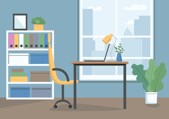Home workplace flat color vector illustration. Personal workspace with laptop. Working space for freelancing, outsourcing. Empty business office 2D cartoon interior with window on background