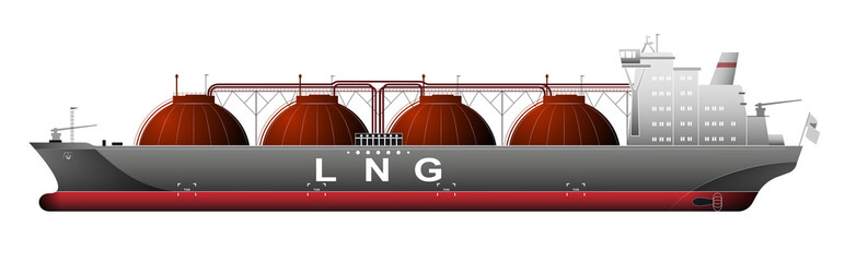 A huge ship tanker with liquefied natural gas LNG. Gas trade. Transporting chartered goods.