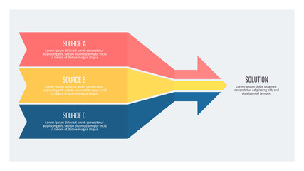 Business infographic. Arrow chart with 3 options. Vector template.