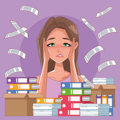 woman with imsomnia stress symptom and pile documents