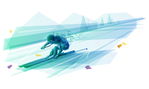 Polygonal illustration of man slalom skiing