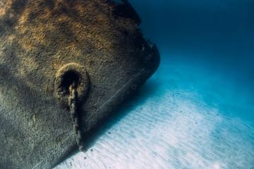 Poster Naufrage Telamon wreck ship underwater in blue ocean near Arrecife, Lanzarote, Spain