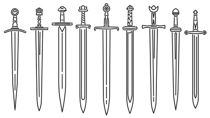 Set of simple vector images of medieval short swords drawn in art line style. Fototapete