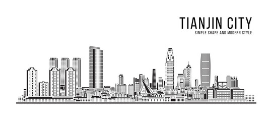 Cityscape Building Abstract Simple shape and modern style art Vector design - Tianjin city Papier Peint